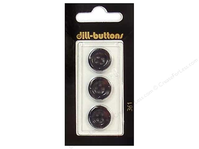 Dill 4 Hole Buttons 5/8 in. Black #361 3pc.