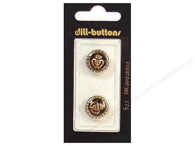 Dill Shank Buttons 5/8 in. Enamel Black/Gold #533 2pc.