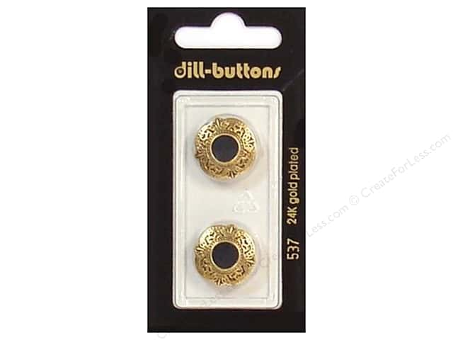 Dill Shank Buttons 11/16 in. Enamel Black/Gold #537 2 pc.