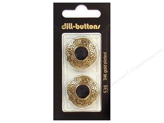 Dill Shank Buttons 1 in. Enamel Black/Gold #538 2pc.
