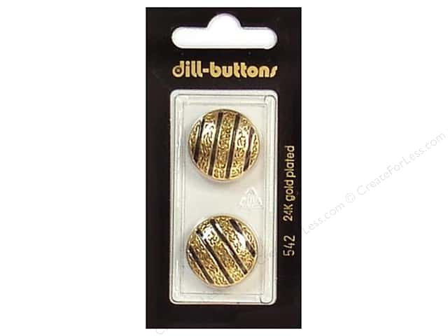 Dill Shank Buttons 13/16 in. Enamel Black/Gold #542 2pc.
