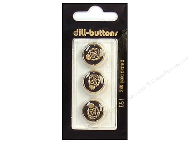 Dill Shank Buttons 5/8 in. Enamel Black/Gold #551 3pc.