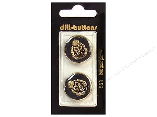 Dill Shank Buttons 7/8 in. Enamel Black/Gold #553 2pc.