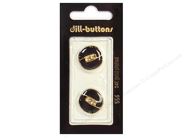 Dill 2 Hole Buttons 11/16 in. Enamel Black/Gold #556 2 pc.