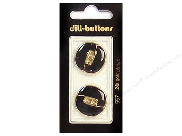 Dill 2 Hole Buttons 7/8 in. Enamel Black/Gold #557 2pc.