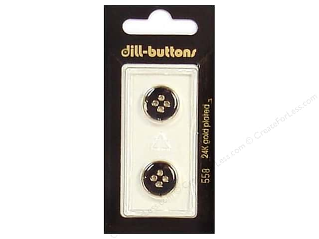 Dill 4 Hole Buttons 5/8 in. Enamel Black/Gold #558 2pc.
