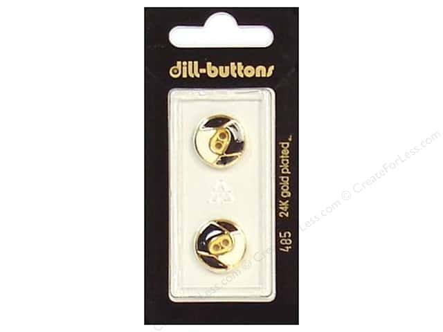 Dill 2 Hole Buttons 5/8 in. Enamel Black/White/Gold #485 2pc.