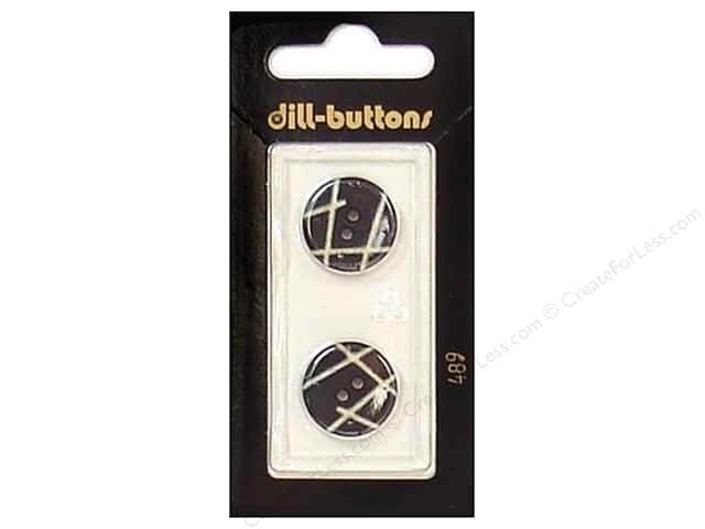 Dill 2 Hole Buttons 11/16 in. Black #489 2pc.
