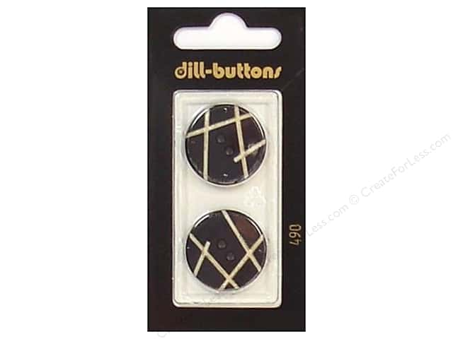 Dill 2 Hole Buttons 7/8 in. Black #490 2 pc.