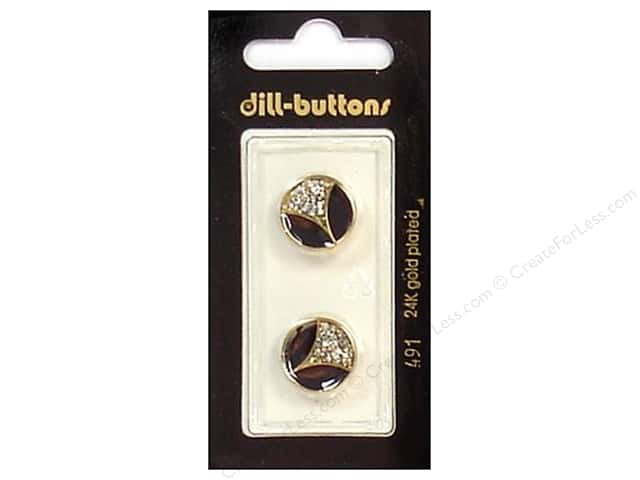 Dill Shank Buttons 5/8 in. Enamel Black/Gold/Silver #491 2pc.