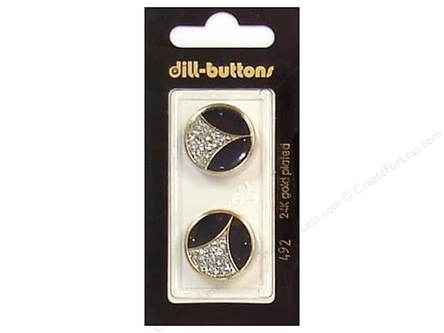 Dill Shank Buttons 13/16 in. Enamel Black/Gold/Silver #492 2pc.