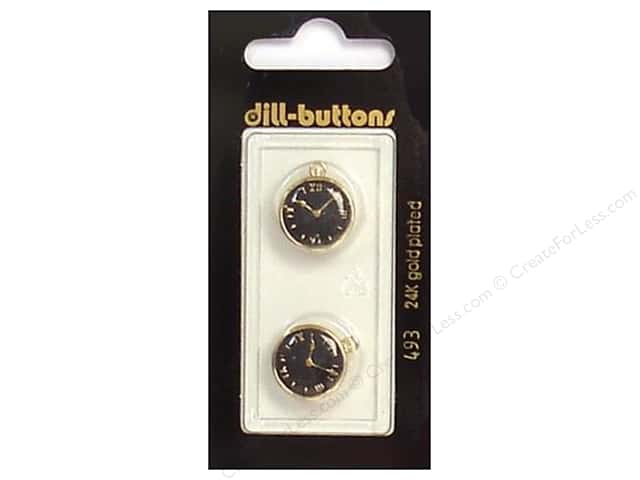 Dill Shank Buttons 5/8 in. Enamel Black/Gold Watch #493 2pc