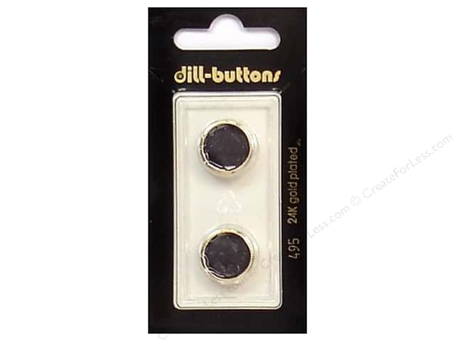Dill Shank Buttons 5/8 in. Black/Gold #495 2pc.