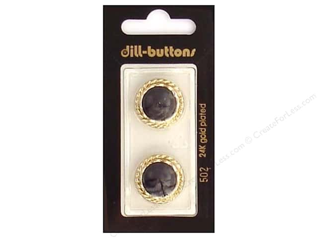 Dill Shank Buttons 13/16 in. Black/Gold #502 2pc.