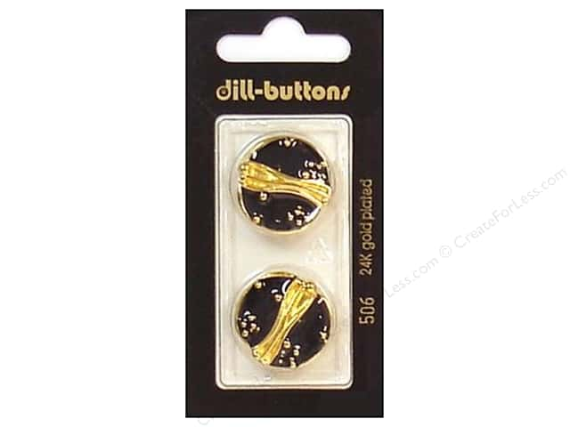 Dill Shank Buttons 7/8 in. Enamel Black/Gold #506 2pc.