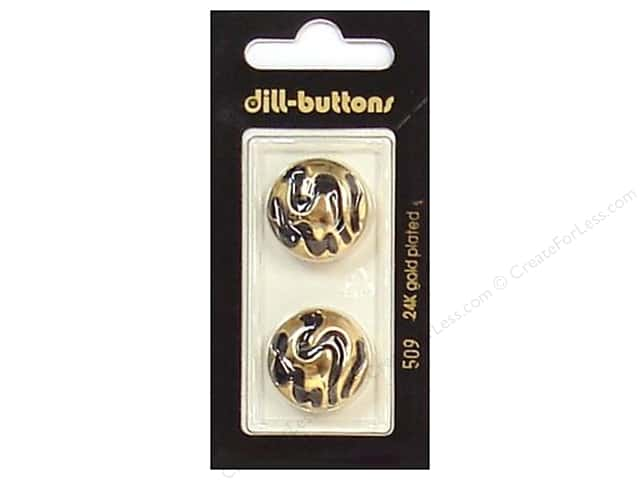 Dill Shank Buttons 13/16 in. Enamel Black/Gold #509 2pc.