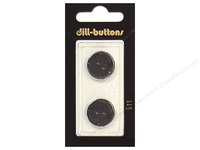 Dill 2 Hole Buttons 11/16 in. Black #511 2pc.