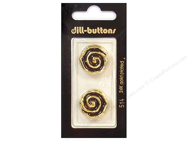 Dill Shank Buttons 13/16 in. Enamel Black/Gold #514 2pc.