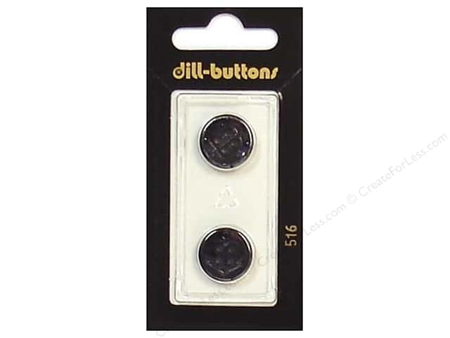 Dill 4 Hole Buttons 5/8 in. Black #516 2pc.