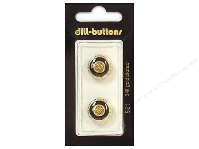 Dill Shank Buttons 5/8 in. Enamel Black/Gold #521 2pc.