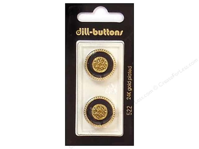 Dill Shank Buttons 13/16 in. Enamel Black/Gold #522 2pc.