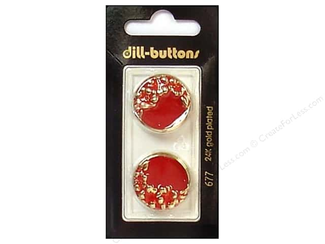 Dill Shank Buttons 7/8 in. Enamel Red/Gold #677 2pc.