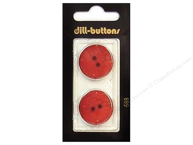 Dill 2 Hole Buttons 7/8 in. Red #688 2pc.