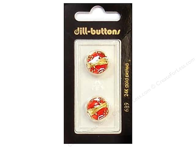 Dill Shank Buttons 5/8 in. Enamel Red/Gold #689 2pc.