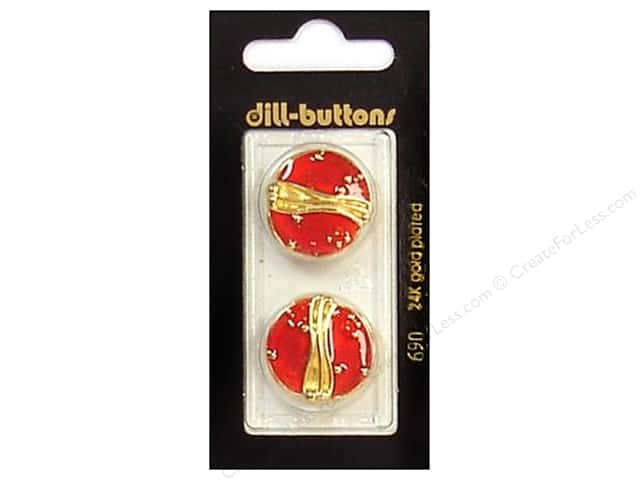 Dill Shank Buttons 7/8 in. Enamel Red/Gold #690 2pc.