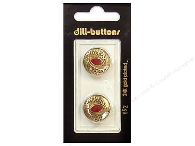 Dill Shank Buttons 11/16 in. Enamel Red/Gold #692 2pc.