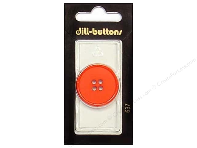 Dill 4 Hole Buttons 1 1/8 in. Red #637 1pc.