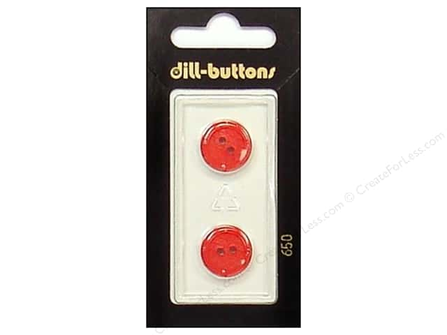 Dill 2 Hole Buttons 5/8 in. Red #650 2pc.