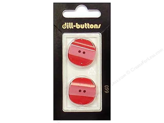 Dill 2 Hole Buttons 7/8 in. Red #660 2pc.