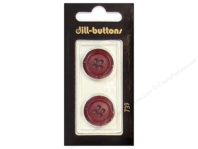 Dill 4 Hole Buttons 13/16 in. Wine Red #739 2pc.