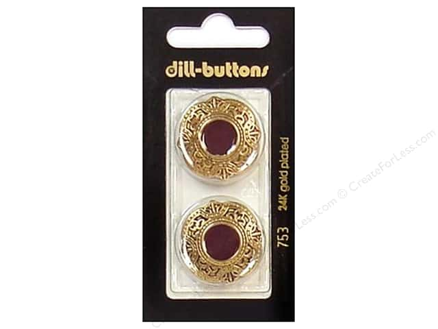 Dill Shank Buttons 1 in. Enamel Wine Red /Gold #753 2pc.