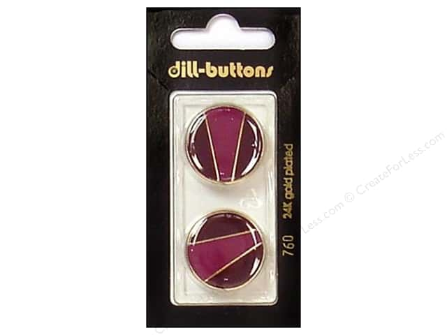 Dill Shank Buttons 7/8 in. Enamel Wine Red/Gold #760 2 pc.