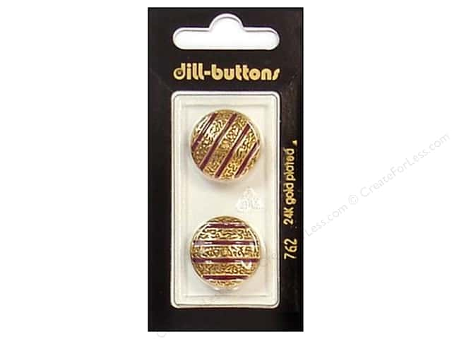 Dill Shank Buttons 13/16 in. Enamel Wine Red/Gold #762 2 pc.