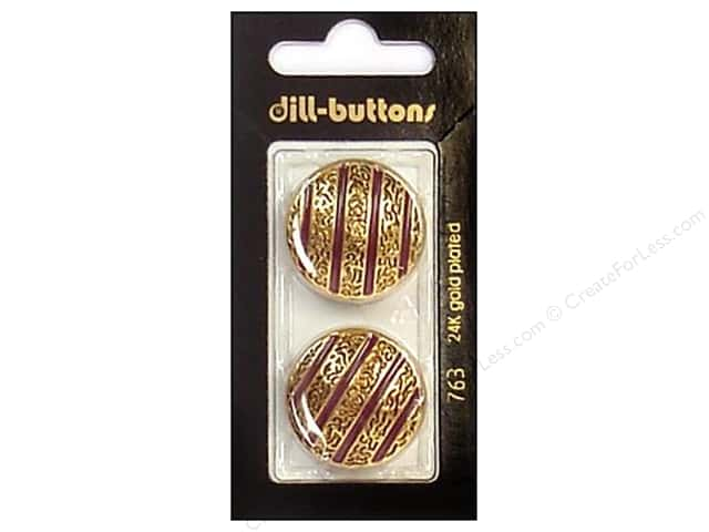 Dill Shank Buttons 1 in. Enamel Wine Red/Gold #763 2pc.