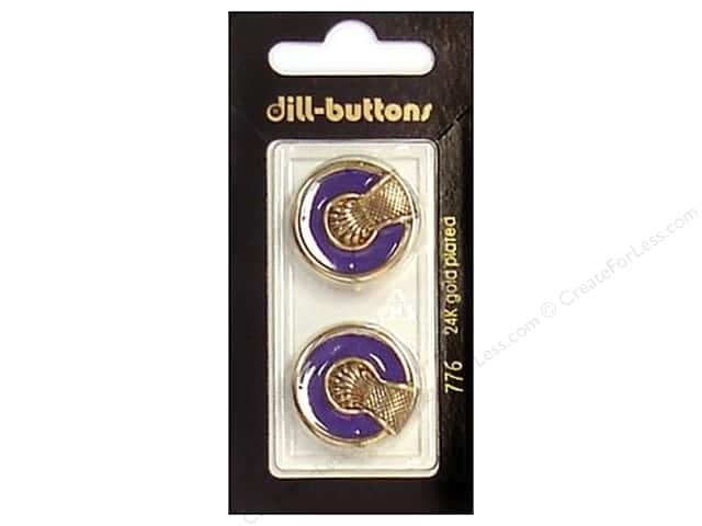 Dill Shank Buttons 7/8 in. Enamel Purple/Gold #776 2pc.