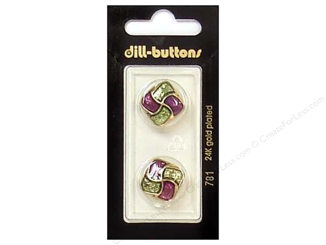 Dill Shank Buttons 11/16 in. Enamel Purple/Green/Gold #781 2pc.