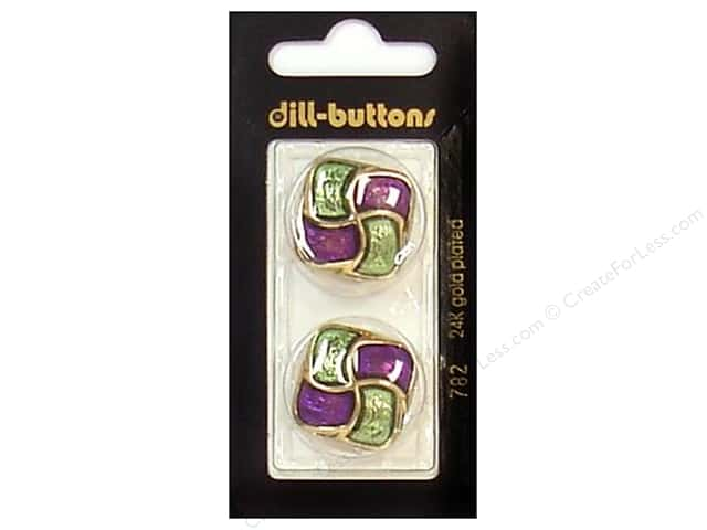 Dill Shank Buttons 1 in. Enamel Purple/Green/Gold #782 2pc.