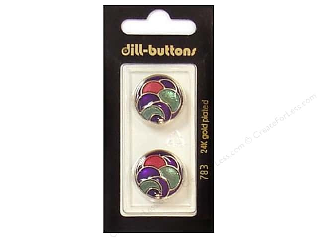 Dill Shank Buttons 13/16 in. Enamel Gold/Multi #783 2pc.