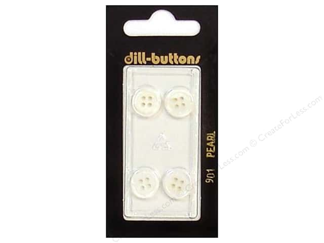 Dill 4 Hole Buttons 7/16 in. Pearlized White #901 4pc.