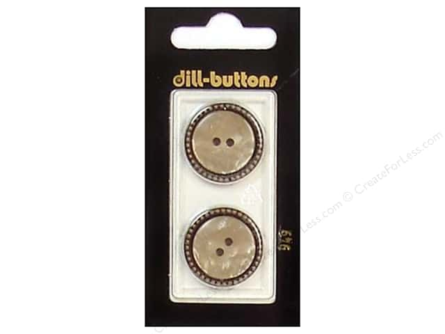Dill 2 Hole Buttons 7/8 in. Beige/Antique Gold #949 2pc.