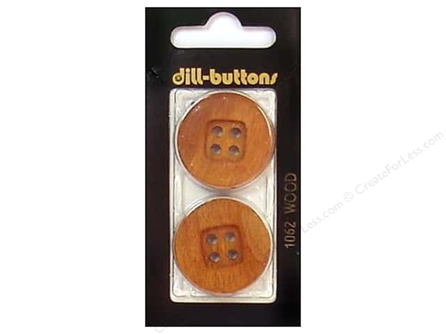 Dill 4 Hole Buttons 1 1/8 in. Brown #1062 2pc.