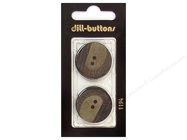 Dill Buttons 25mm 2 Hole Brown #1194 2pc.