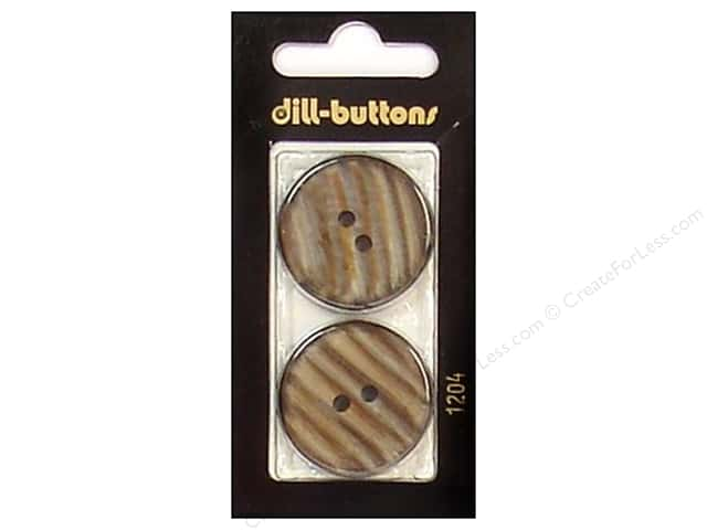 Dill 2 Hole Buttons 1 1/8 in. Brown #1204 2pc.