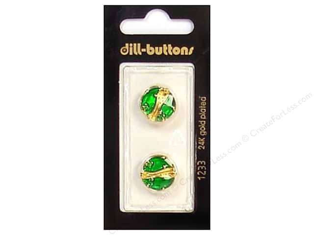 Dill Shank Buttons 5/8 in. Enamel Green/Gold #1233 2 pc.