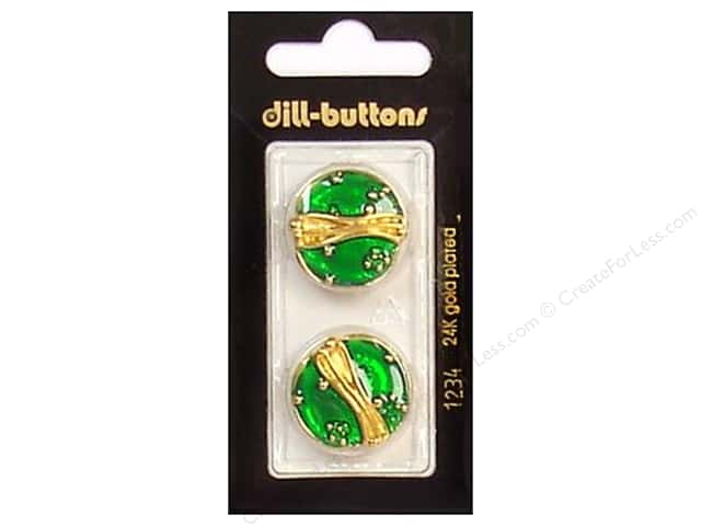 Dill Shank Buttons 7/8 in. Enamel Green/Gold #1234 2pc.