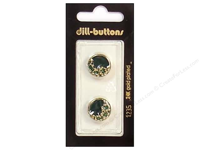 Dill Shank Buttons 5/8 in. Enamel Green/Gold #1235 2pc.